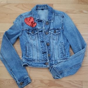 American Eagle denim jacket w/ hearts size xs